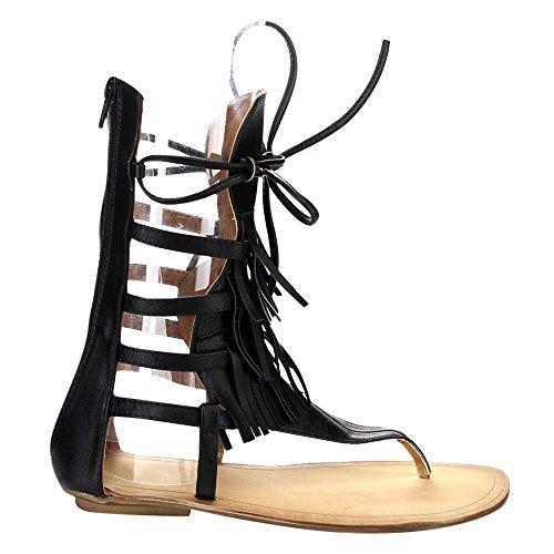 Beston Liliana Avis-4 Femmes Plat Lace Up 3 Couches Frange Tongs Gladiateur Sandale Noir