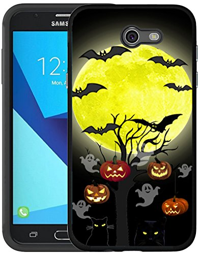 J7 Case 2017 & MUQR Black Cover Silicone Rubber Protective Compatible for Samsung Galaxy J7 2017/J7 V/J7 Sky Pro/J7 Perx/J7V 2017/J7 Prime & Halloween Pumpkin Cat Bat Design for $<!--$5.10-->