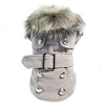Pet Clothing - SODIAL(R) Dog Winter Warm Coat Luxury Jacket Puppy Clothes Pet Clothing Cat Apparel (Gray S)