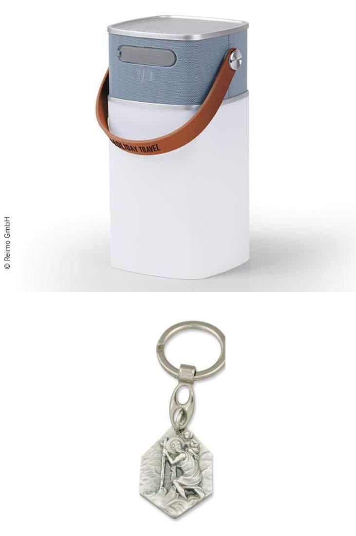 Christophorus Zisa-Kombi Bluetooth-Lautsprecher mit LED-Lampe Holiday TRAVEL mit Anh/änger Hlg als Powerbank nutzbar 93298883599