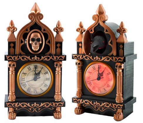 13 Inch Spooky Animated Light Up Pop Out Raven Clock - Spinning Clock Hands
