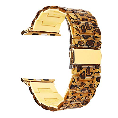 (Compatible for Apple Watch Band 38mm 40mm Women, Resin Watch Band Stainless Steel Buckle Replacement Wristband Strap for iWatch Series 4,Series 3,Series 2,Series 1 (Leopard))