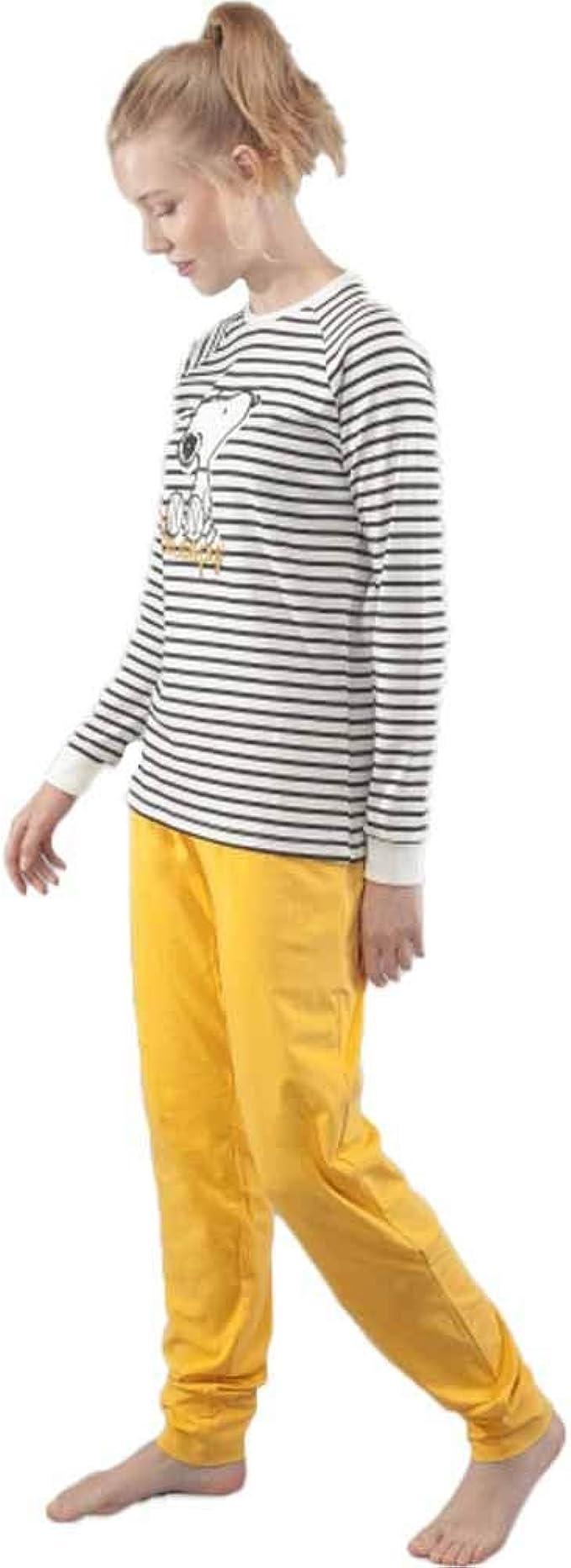GISELA Pijama de Mujer Snoopy 2/1539 - Mostaza, XL ...