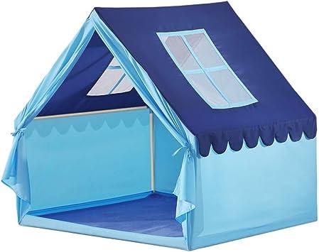 Haedr Muebles de cumpleaños for niños Decoración de la habitación con ventanas de gran tamaño Azul Niños Princesa Castle Play Carpa Casa Niñas Juguete Niños Interior al aire libre Jardín Túneles Tiend: