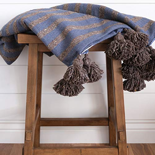 The Cozy Throw - Authentic Chocolate & Ocean Blue Moroccan Pom Pom Blanket for Couch, Sofa, or Bed, Modern Boho Design, (50