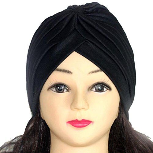 Knotted Fleece Scarf (Elevin(TM)2017Women Solid Indian Stretch Turban Ear Bonnet Hat Cancer Chemo Cap Hair Scarf Headwrap (R))