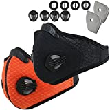 Dustproof Mask - Activated Carbon Dust Masks - with Extra Filter Cotton Sheet and Valves for Exhaust Gas, Anti Pollen Allergy, PM2.5, Running, Cycling, Outdoor Activities (2 Pack Black+Orange, Type 1)