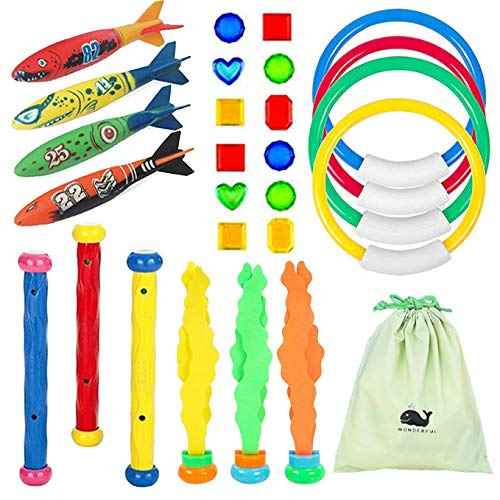Raise Toy Deluxe Underwater Swimming/Diving Pool Toy Rings(4Pcs),Diving Sticks(3Pcs), Bandits(4Pcs),Aquatic(3Pcs),Under Water Treasures (12Pcs) with Waterproof Storage Bag - Pack of 26