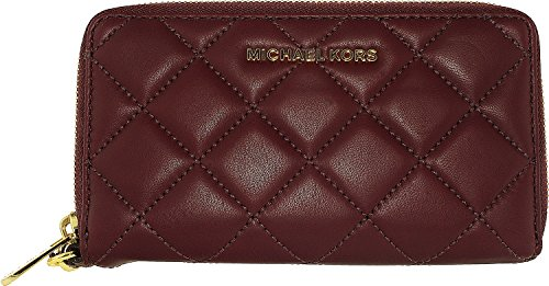 Michael Kors Quilted Leather Jet Set Travel Large Flat MF PHN Case Plum by Michael Kors