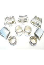 9pcs Fashion Jewelry Scarf Slides Alloy Silver Scarf Bails Ring Charms