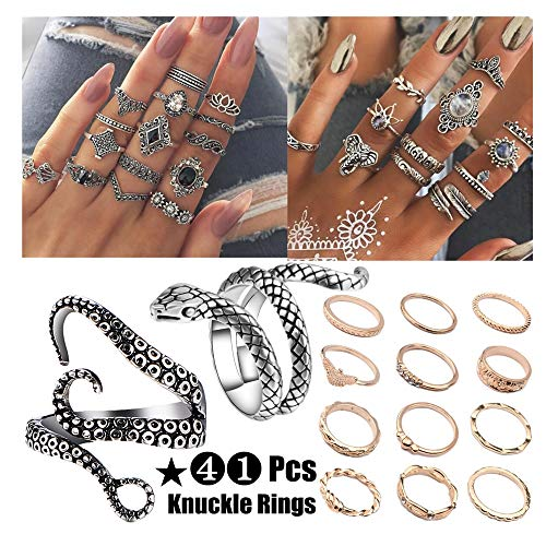 - NNIOV 41Pc Fashion Boho Knuckle Rings Set for Women Girls Men, Vintage Retro Crystal Bohemian Midi Rings, Joint Nail Band Cuff Toe Statement Finger Rings, Snake Octopus Elephant Feather (41 Pcs a set)