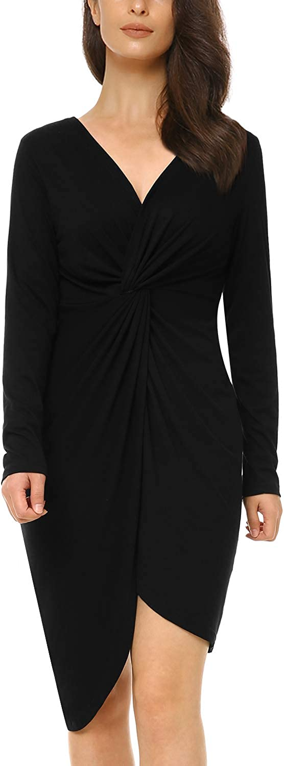 Mixfeer Womens Casual Bodycon Midi Dress Ruched Knotted T Shirt Dress Wrap Party Dress with Long Sleeve