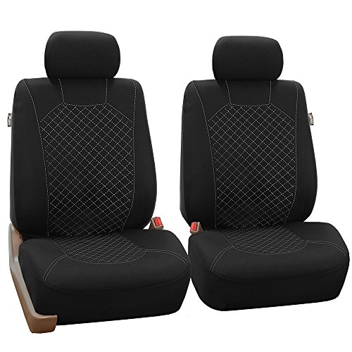 FH Group APRIL SALE FB066102 Ornate Diamond Stitching Car Seat Covers, (Airbag Ready) White/Black Color- Fit Most Car, Truck, Suv, or Van ()