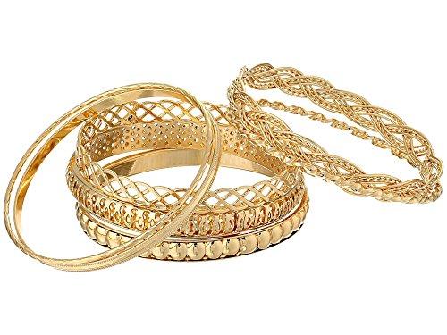 GUESS Basic Gold 7 Piece Mixed Bangle Bracelet