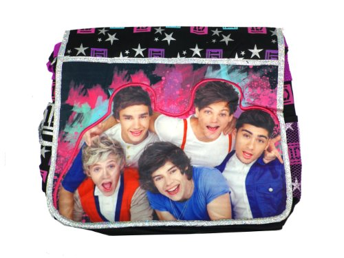 Black and Purple Stars One Direction Messenger Bag - One Direction Laptop Bag by AI
