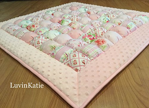 Bubble Puff Quilt Biscuit Quilt for Floor Time Pink Roses and Stripes by LuvinKatie