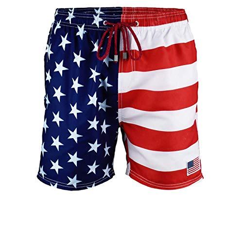 US Apparel Licensed-Mart Men's American Flag Swim Trunks, Red/Blue, Large (34