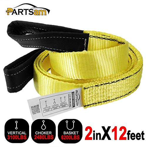 Premium 2 Pcs Crane Towing Strap Durable 3400Dtex - Heavy Duty Web Sling - Corrosion Resistance Polyester Industrial Flat Eye-Eye Ropes (12feet x 2inch)