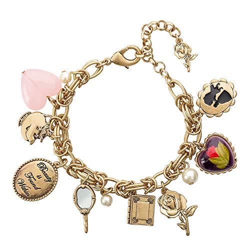 Disney Danielle Nicole Antique Gold Tone Beauty and The Beast Charm Bracelet for Women, 7.5