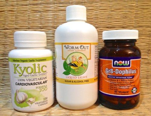 Parásito limpiar Kit (tamaño infantil): Gusano Kyolic ajo y Gr8 Dophilus probiótico