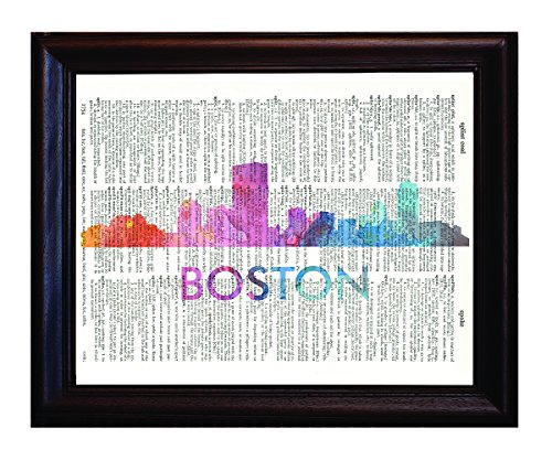 Fresh Prints of CT Boston Love Your City Watercolor Skyline - Dictionary Art Print Printed On Authentic Vintage Dictionary Book Page-8x10.5 (Prints Fresh)