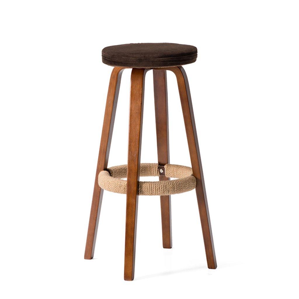 スツールシンプルなスタイル、ブラウン、ウッド、クッションクッション、バークリエイティブハイチェアヨーロピアンスタイルの木製の椅子ヴィンテージバースツール高さ69cm (色 : A) B07CGYFQ8X A A
