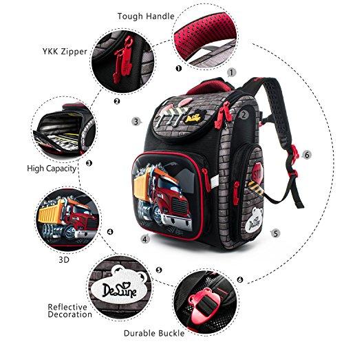 Delune Folding School Backpack for Kids Waterproof Red Truck Bookbag for Boys by Delune (Image #5)