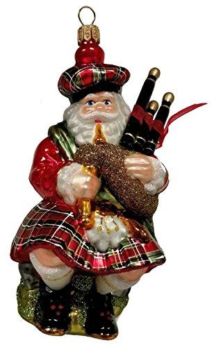 Pinnacle Peak Trading Company Scottish Santa in Kilt with Bagpipes Polish Glass Christmas Ornament Scotland