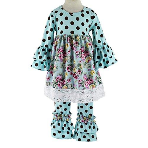 Wennikids Children Baby Girls Polka Dot Lace Trim Dresses & Ruffle Pants Outfits Sets Large Aqua (Lace Trim Polka Dot)
