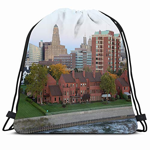 Ahawoso Drawstring Backpack String Bag 14X16 Pink Rooftops Buffalo Skyline Dusk October Erie Basin Parks Yellow Apartments Autumn Leaves Trees Break Wall Sport Gym Sackpack Hiking Yoga Travel Beach