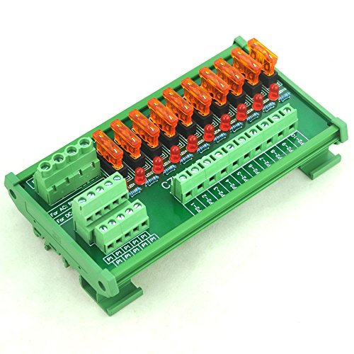 Electronics-Salon DIN Rail Mount 10 Position Power Distribution Fuse Module Board, For AC/DC 5~32V