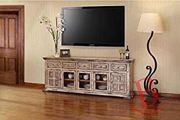 """Amazon Rustic 83"""" Nathaniel Old Linen TV Stand Western Style"""