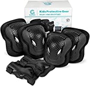 Gonex Kids Knee and Elbow Pads with Wrist Guards, Skateboard Pads for Youth 6 in 1 Protective Gear Set for Ska