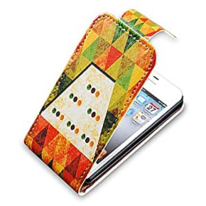 Triangle Style Up-Down Turn Over PU Leather Full Bady Case for iPhone 4/4S