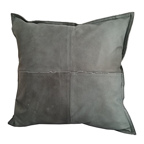 Genuine Lambskin Leather Bohemian/Mid-Century Throw Pillow Cover (Shark Grey 18