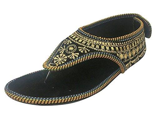 Step n Style Black Ethnic Sandals Flat Flip Flops Pom Pom Sandals Handmade Sandals - Jaipuri Velvet