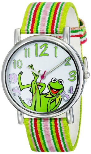 (Muppets Women's MU1010 Kermit the Frog Dial Multi-Color Watch with Fabric)