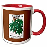 3dRose BLN Vintage Seed Packet Reproductions - Ricinus Castor Oil Plant Palma Christi Large Ornamental Plant - 11oz Two-Tone Red Mug (mug_170721_5)