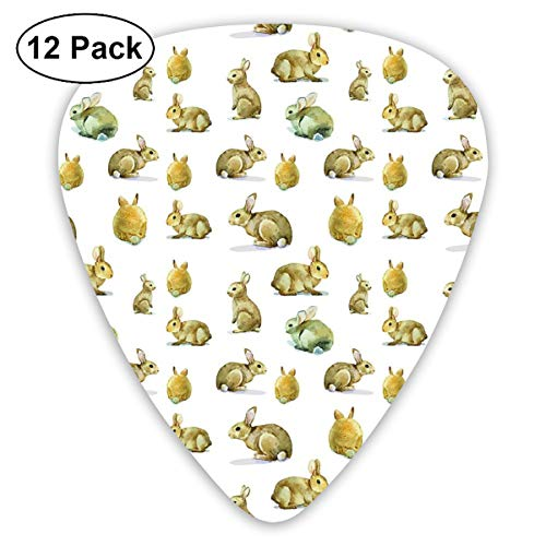 Guitar Picks 12-Pack,Cute Furry Rabbit Bunny Pattern Easter Animals Domestic Fluffy Pets