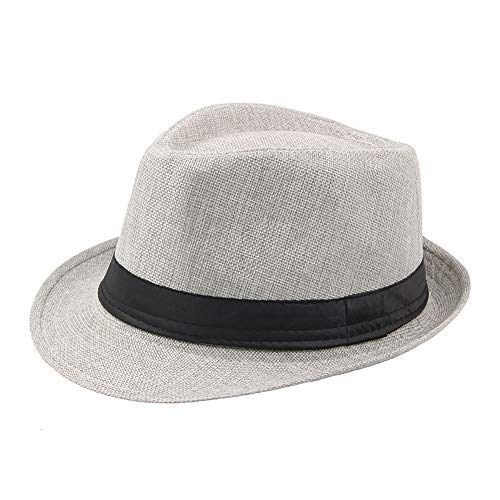 (IL Caldo Mens Summer Linen Sewn Hat,Breathable Linen Porkpie Hat Stingy Brim Cap,Light Gray )