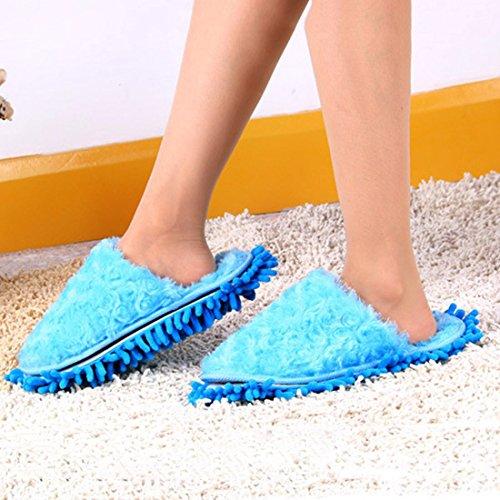 Jiyaru Dust Cleaning Slippers Vloer Dweilen Chenille Schoenen Verwijderbaar Blauw