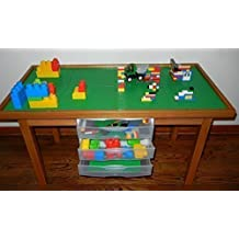 LEGO OAK COLOR PLAY TABLE WITH 3 STORAGE DRAWERS SOLID POPLAR WOOD LEGS & FRAME - REMOVABLE BASE PLATE LEGO TILES 29 INCH TALL LEGS