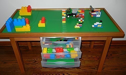 Oak Table Bases - LEGO OAK COLOR PLAY TABLE WITH 3 STORAGE DRAWERS SOLID POPLAR WOOD LEGS & FRAME - REMOVABLE BASE PLATE LEGO TILES 29 INCH TALL LEGS