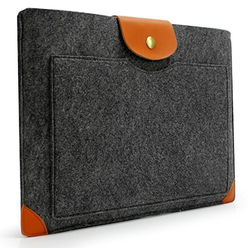 Free Sinoguo Dark Gray Felt & Leather Case Sleeve Pouch for 13 Inch Macbook Air Pro Retina, Handmade Laptop Bag Holder Pouch with a Pocket Outside for 13 Inch Macbook Air Pro Retina