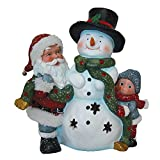 Santa Claus with Child and Snowman LED Light Figurine Holiday Decor Polyresin 12'' inch