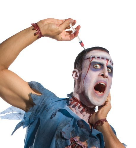 Adorox Zombie Syringe Bloody Gory Headpiece Scary Dead Halloween Costume Prop (1pc) ()