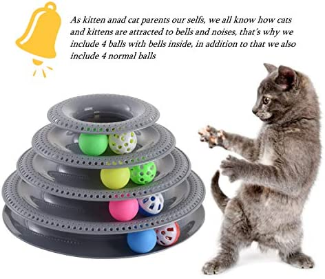 Pets Furst Cat Toys Interactive, Tower of Tracks Kitten Toys, 4 Balls with Bells, 4 Regular Balls, Modern Colors Available, Interactive Cat Toys, 1 Year Warranty 4