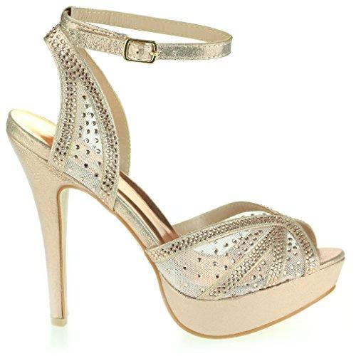 Mujer Señoras Diamante Peeptoe Plataforma Correa de Tobillo Delgado Tacón Alto Noche Fiesta Boda Prom Nupcial Stiletto Sandalias Zapatos Talla Champán