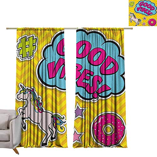 (berrly Grommet Blackout Curtains Good Vibes,Fantastic Colorful Fun Design Cute Magic Unicorn Speech Bubble Stars and Donut, Multicolor W96 x L84 Art Drapery Panels)