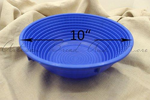 (Plastic Bread Proofing Basket Round Blue #AB109 Brotform Dishwasher Safe 3lb Loaf (plastic Banneton))